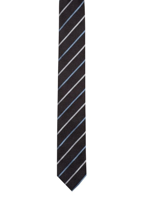 Krawatte aus Seiden-Jacquard mit diagonalen Kontraststreifen, Gemustert
