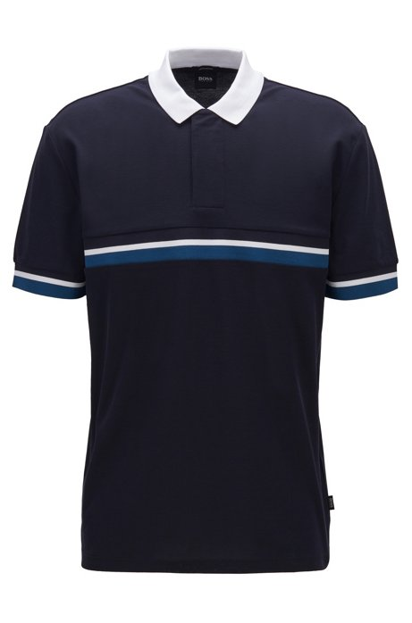 Cotton-piqué polo shirt with three-tone tape, Dark Blue