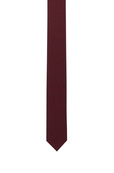 Silk tie with jacquard structure, Dark Red