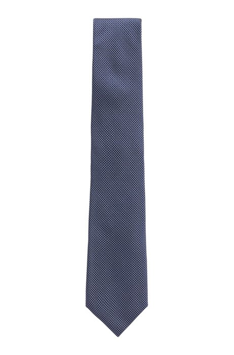 Tie in Italian silk with jacquard micro dots, Dark Blue