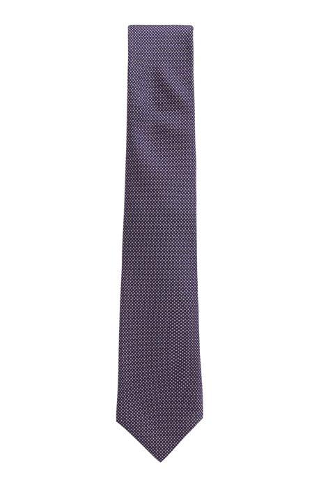 Tie in Italian silk with jacquard micro dots, Dark Purple