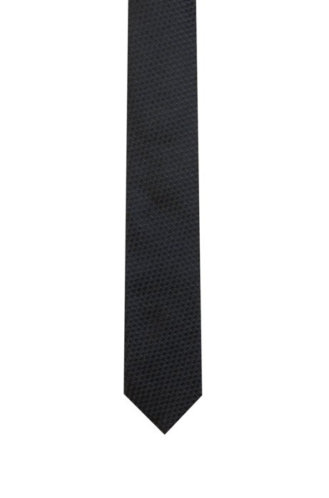 Silk-jacquard tie with 3D cube pattern, Patterned