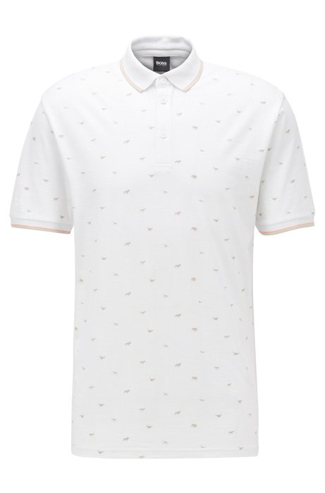 Regular-fit polo shirt with all-over print, White