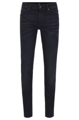 Extra Slim-Fit Jeans aus elastischem Bio-Baumwoll-Mix mit Modal, Schwarz