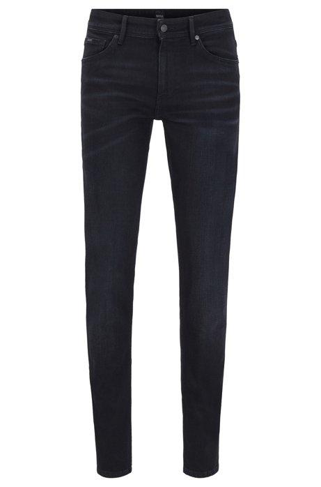 Jeans extra slim fit in denim elasticizzato di cotone biologico, Nero