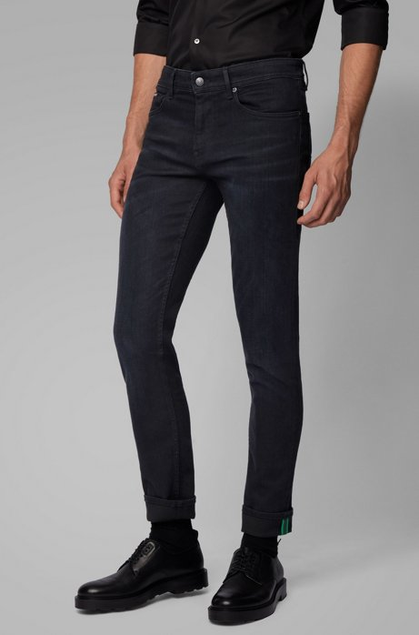 Jean Extra Slim Fit en denim stretch de coton biologique, Noir