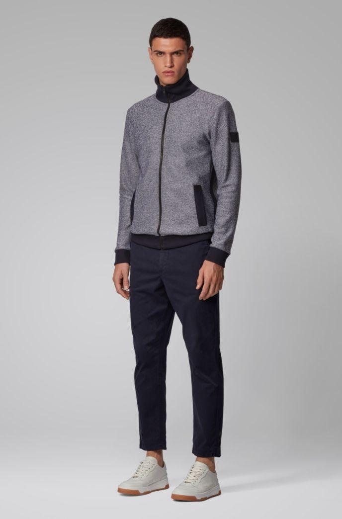 Veste zippée en jersey de coton molletonné et mouliné
