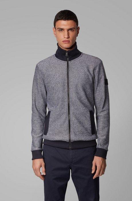 Jersey-Jacke aus meliertem Baumwoll-Terry mit Reißverschluss, Dunkelblau