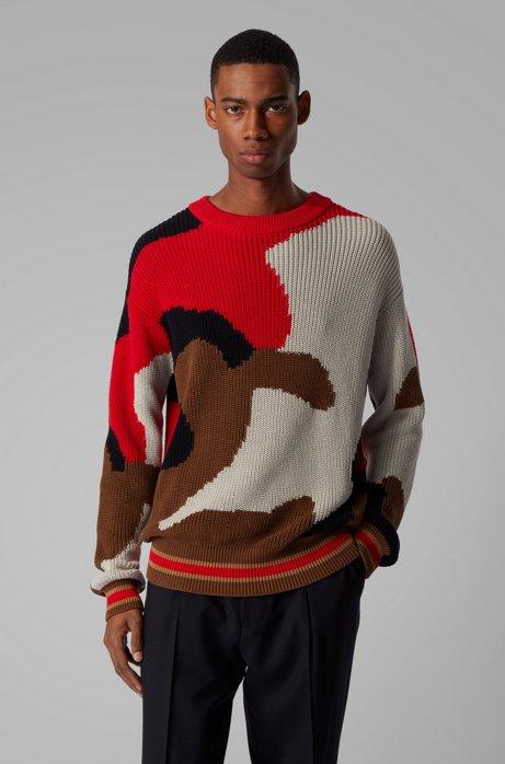 Crew-neck sweater in Italian cotton with camouflage intarsia, Dark Brown