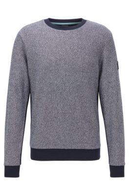 Regular-fit sweater van katoenen badstof in mouliné, Donkergrijs