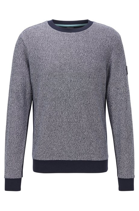 Regular-fit sweater van katoenen badstof in mouliné, Donkergrijs