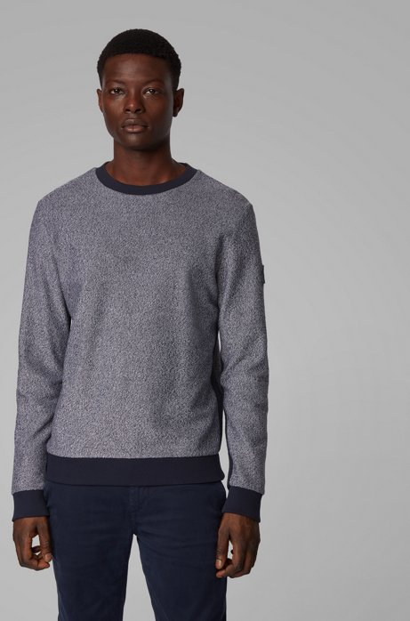 Sweat Regular Fit en molleton de coton mouliné, Gris sombre