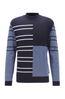 Pull en laine vierge à rayures et design color block, Bleu foncé