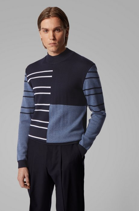 Virgin-wool sweater with stripes and colour-blocking, Dark Blue