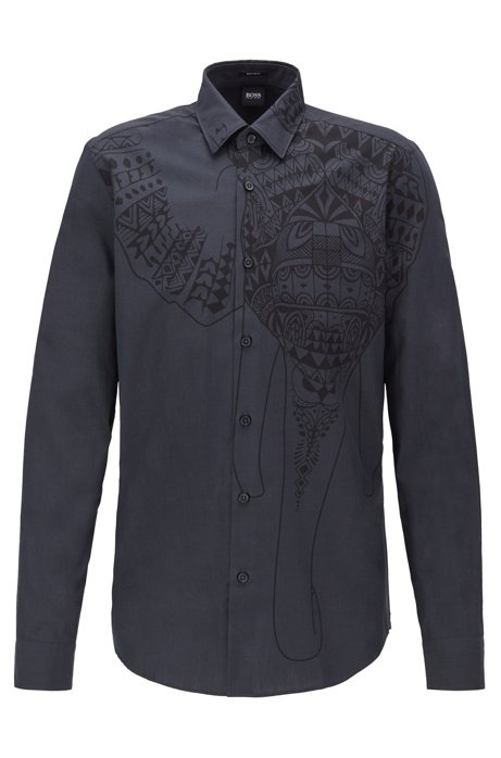 Chemise Regular Fit en coton italien à imprimé de la collection, Noir