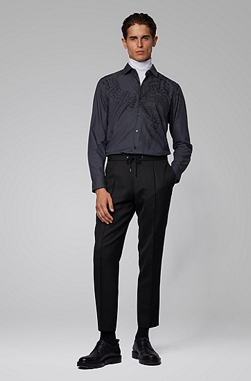 印花常规版型棉质衬衫,  001_黑色