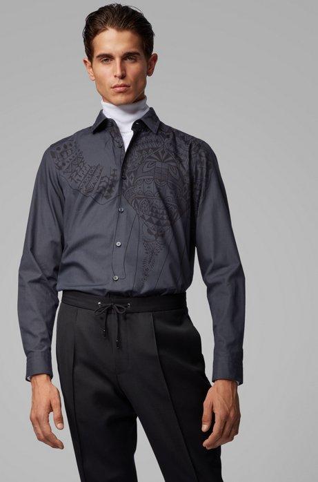 Regular-fit overhemd van Italiaanse katoen met collectieprint, Zwart