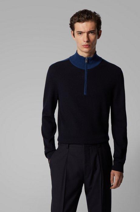 Pullover aus Baumwolle mit Schurwolle und kurzem Reißverschluss, Dunkelblau