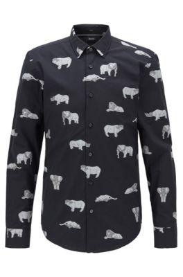 Slim-Fit Hemd aus italienischer Baumwolle mit Motiven der Kollektion, Schwarz