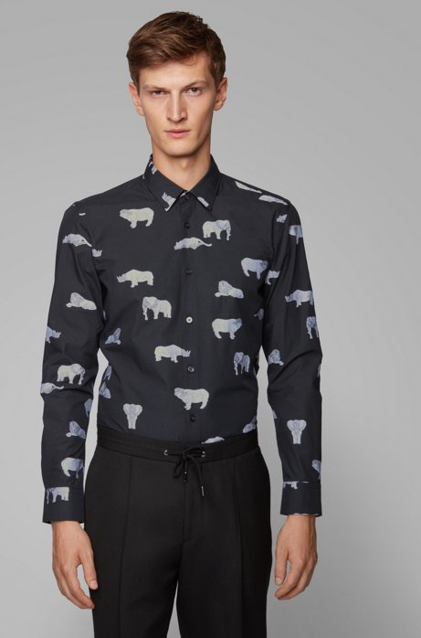 Chemise Slim Fit en coton italien à motifs de la collection, Noir