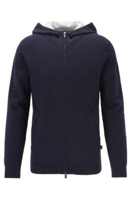 Jersey con cremallera integral en mezcla de algodón con cashmere, Azul oscuro