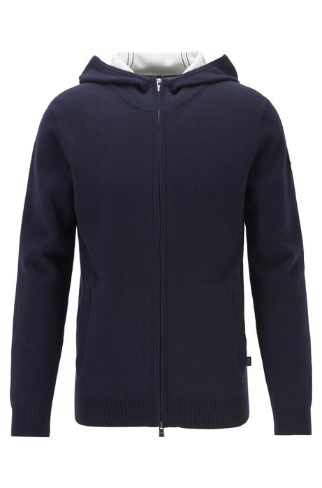 Zip-through sweater in a cotton blend with cashmere, Dark Blue