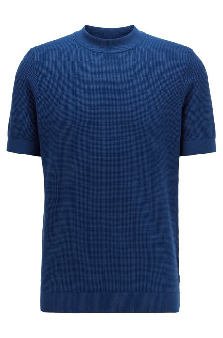 Short-sleeved knitted sweater in structured cotton, Dark Blue