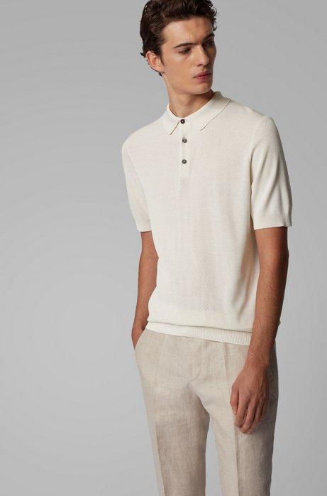 Kurzarm-Pullover aus Seide mit Polokragen, Weiß