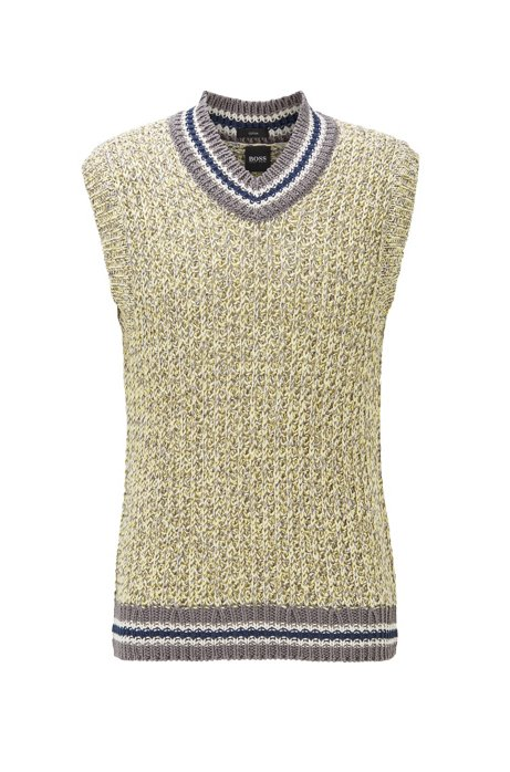 Sleeveless sweater in mercerised cotton with striped trims, Gold