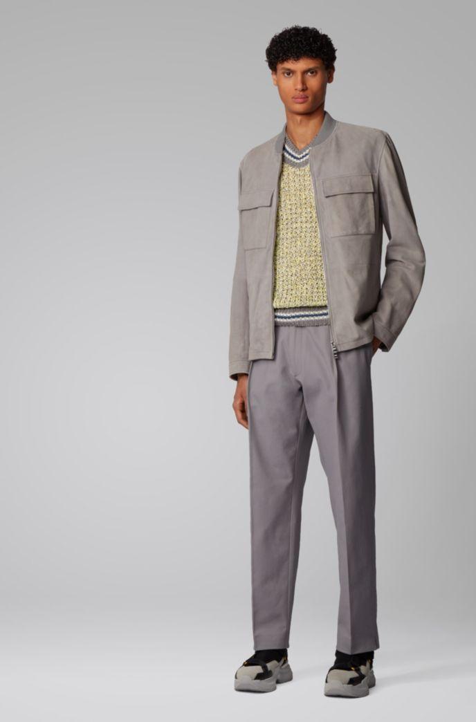 Ärmelloser Pullover aus merzerisierter Baumwolle mit gestreiften Details