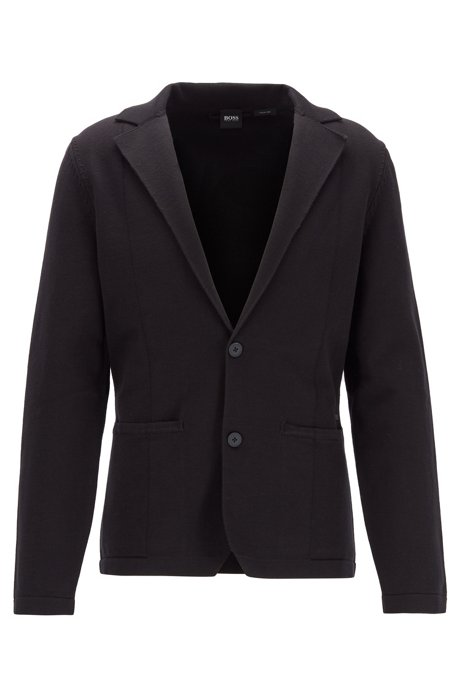 Regular-fit jacket in finely ribbed Italian cotton, Black