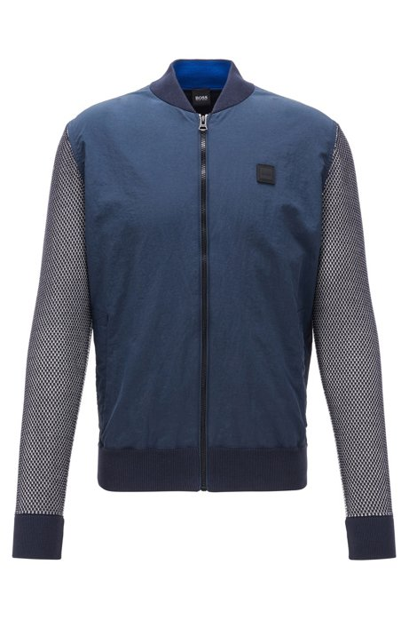 Blouson jacket with contrast panels and college collar, Dark Blue