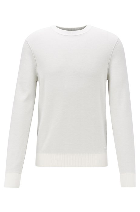 Knitted sweater in structured cotton with seam details, White
