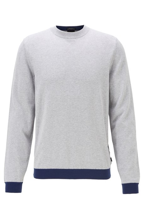 Crew-neck sweater in cotton with pop-colour details, Open Grey