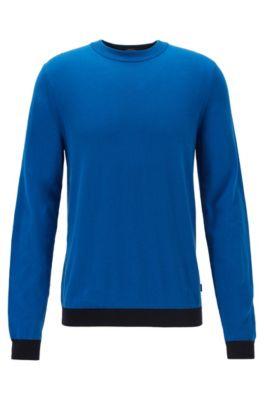 Maglione a girocollo in cotone con dettagli colorati, Blu