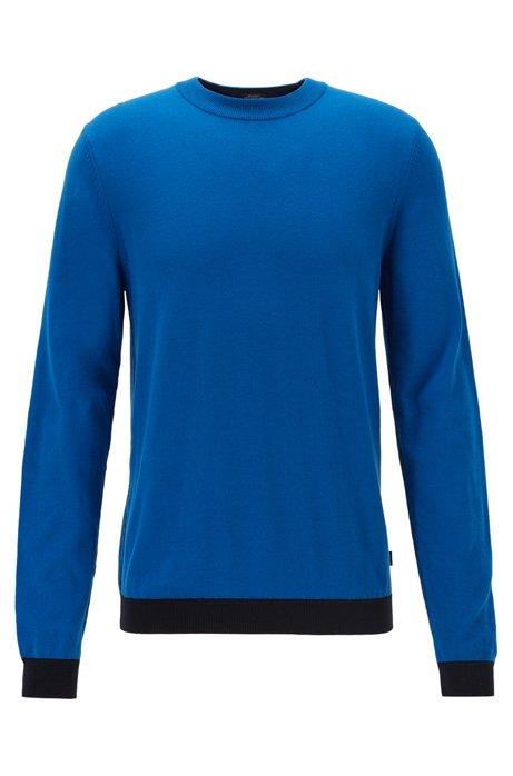 Pullover aus Baumwolle mit Rundhalsausschnitt und farbigen Details, Blau
