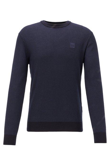 Lightweight sweater in jacquard-woven cotton and linen, Dark Blue