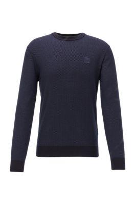 Pullover aus leichter Baumwolle mit Leinen, Dunkelblau