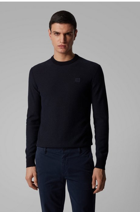 Lightweight sweater in jacquard-woven cotton and linen, Dark Blue