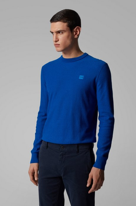 Lightweight sweater in jacquard-woven cotton and linen, Blue