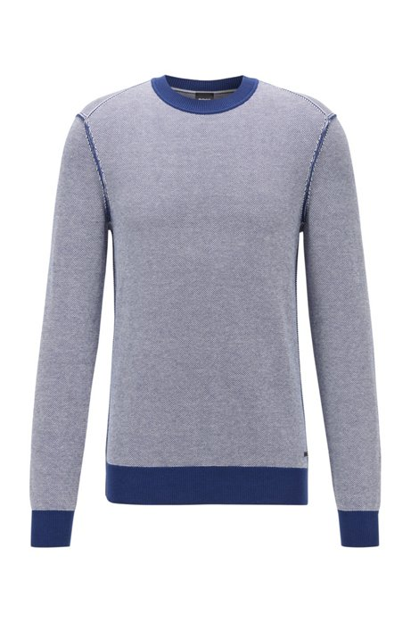 Jersey ligero en mezcla de algodón y kapok, Azul oscuro