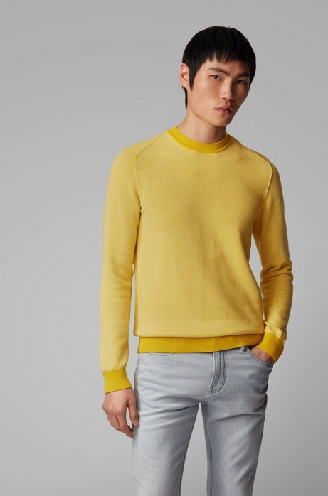 Lightweight sweater in a cotton-kapok blend, Yellow