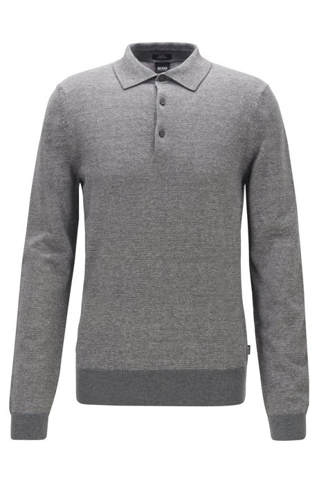 Knitted sweater in cotton and linen with polo collar, Grey