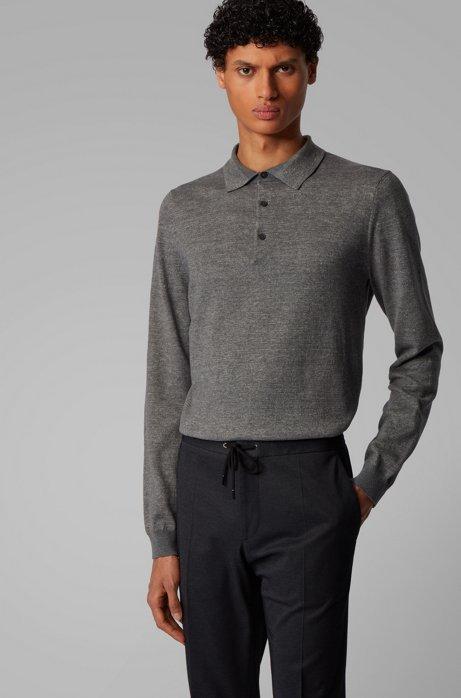 Strickpullover aus Baumwolle mit Leinen und Polokragen, Grau