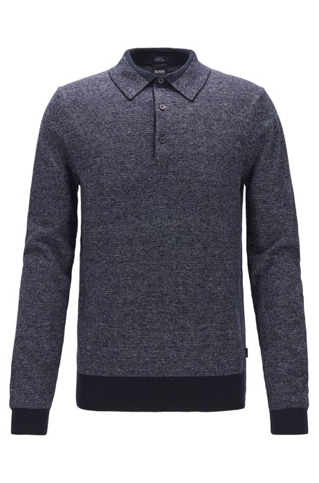 Knitted sweater in cotton and linen with polo collar, Dark Blue
