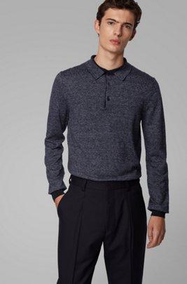 Gebreide trui van katoen en linnen met polokraag, Donkerblauw