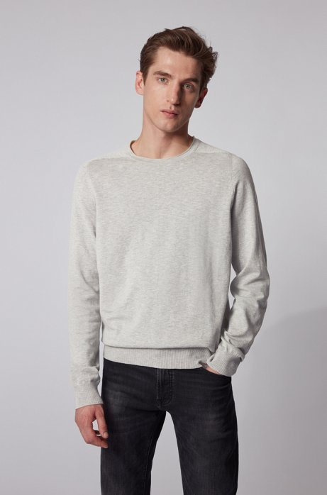 Slim-fit sweater in lightweight mouliné cotton, Silver