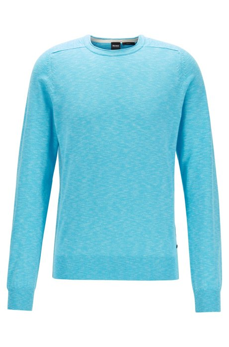 Slim-fit sweater in lightweight mouliné cotton, Turquoise