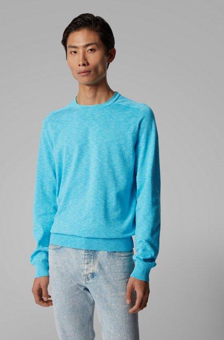 Pull Slim Fit en coton mouliné léger, Turquoise