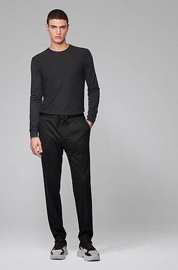 男士混合真丝针织毛衣,  001_黑色